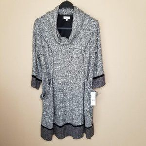 Signature Robbie Bee gray black sweater dress 2X